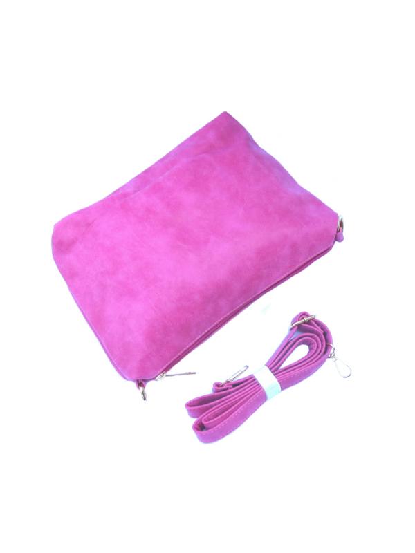 Розова дамска чанта с лазерно изрязани дупки