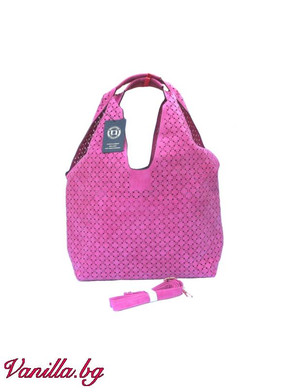 За вас - Розова дамска чанта с лазерно изрязани дупки