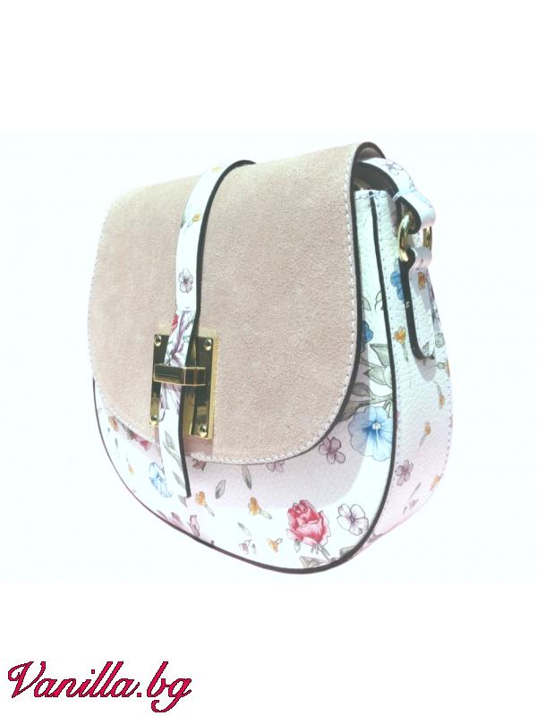 Дамска чанта за през рамо от естествена кожа — розова — Чанти   vanilla.bg