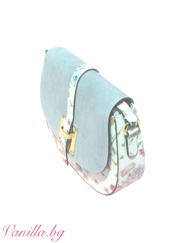Дамска чанта за през рамо от естествена кожа — синя — Чанти | vanilla.bg