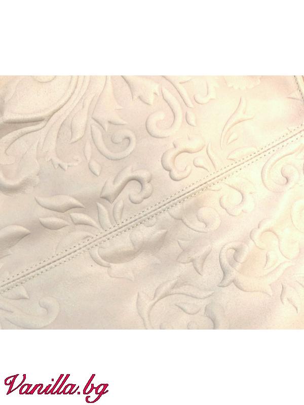 За вас - Дамска чанта от релефна естествена кожа - бежова