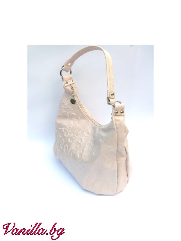 Дамска чанта от релефна естествена кожа — бежова — Чанти | vanilla.bg