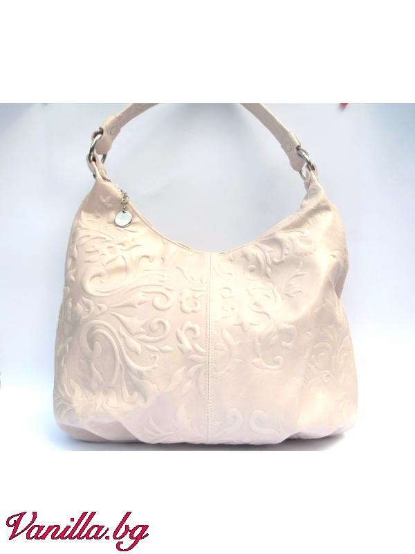 Дамска чанта от релефна естествена кожа — бежова