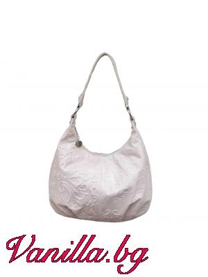 Дамска чанта от релефна естествена кожа - бежова