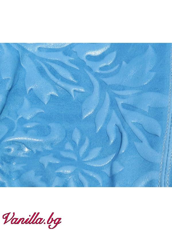 За вас - Дамска чанта от релефна естествена кожа - светло синя