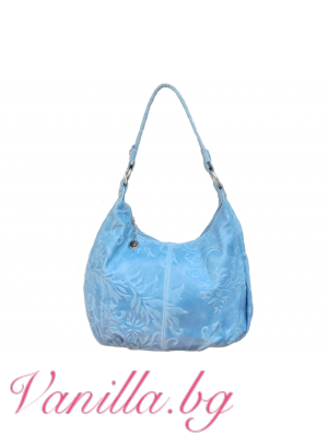 Дамска чанта от релефна естествена кожа — светло синя