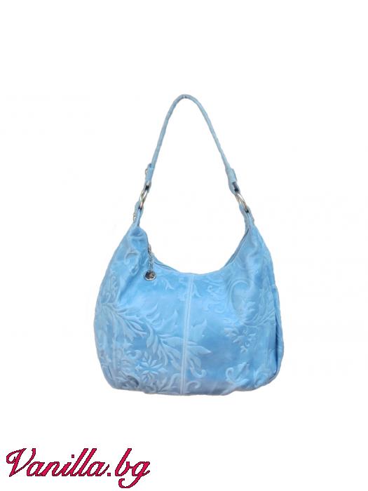 Дамска чанта от релефна естествена кожа - светло синя