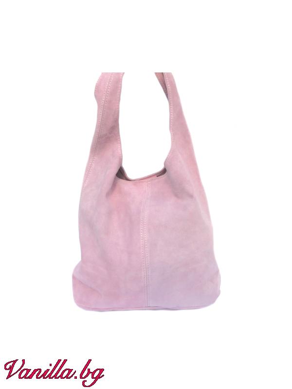 Дамска чанта от естествен велур — светло розова — Чанти | vanilla.bg
