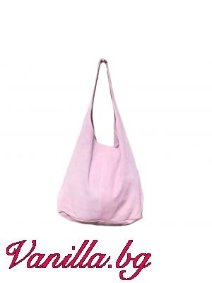 Дамска чанта от естествен велур - светло розова