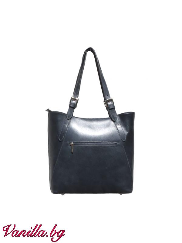 За вас - Дамска чанта от естествена кожа- тъмно сива