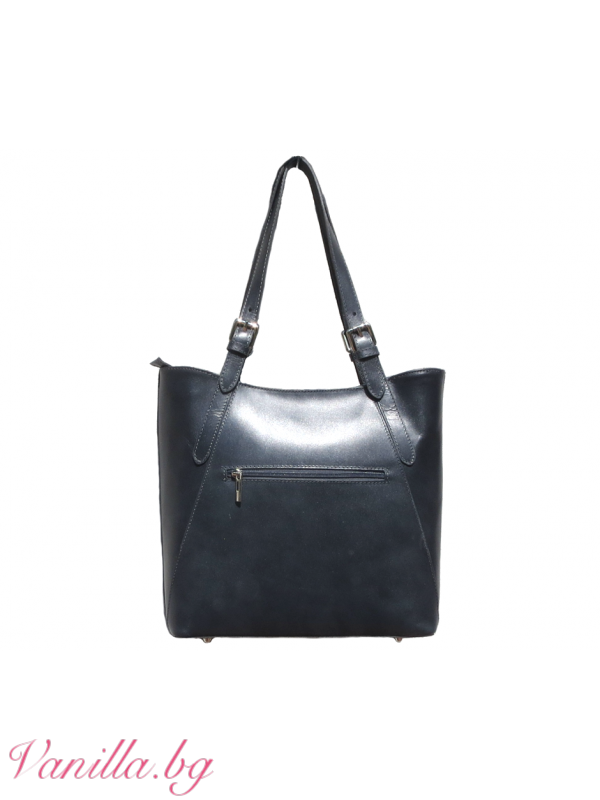 Дамска чанта от естествена кожа — тъмно сива — Чанти   vanilla.bg