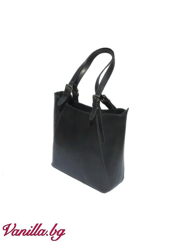 Дамска чанта от естествена кожа — тъмно сива