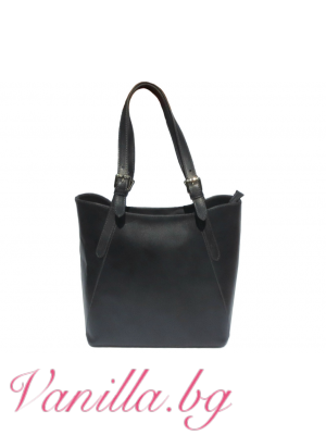 Дамска чанта от естествена кожа- тъмно сива