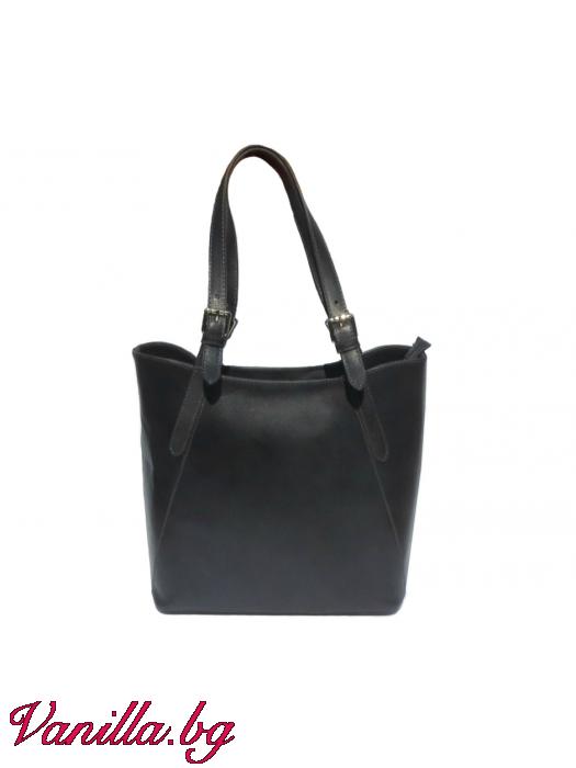 Дамска чанта от естествена кожа - тъмно сива