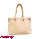 Бежова дамска чанта от преплетена еко кожа