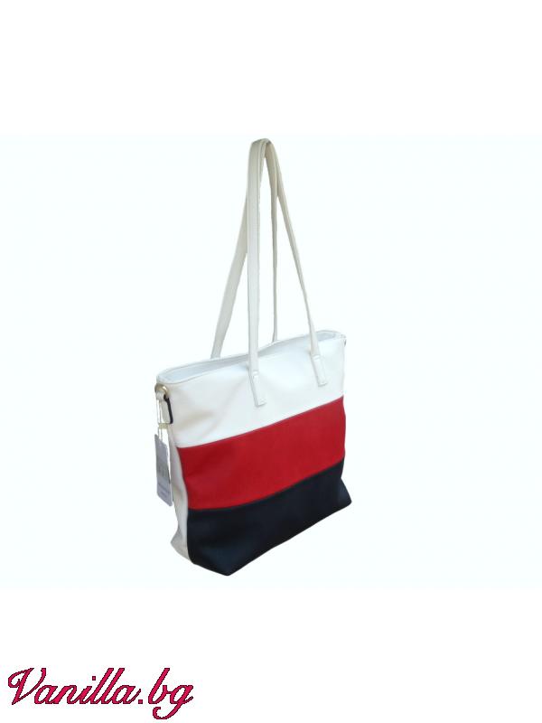 Дамска чанта на райета в бяло, червено и тъмносиньо — Чанти (vanilla.bg)