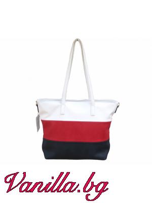 Дамска чанта на райета в бяло, червено и тъмносиньо