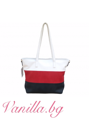 Дамска чанта в комбинация от бяло, червено и тъмносиньо