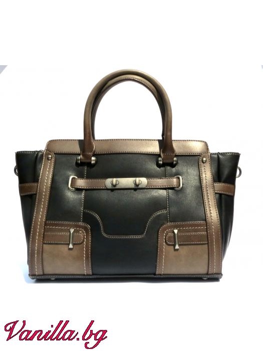 Дамска чанта в ретро стил - черна