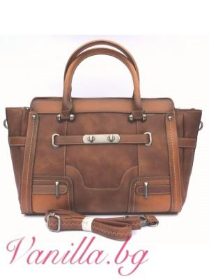 Дамска чанта в ретро стил - кафява