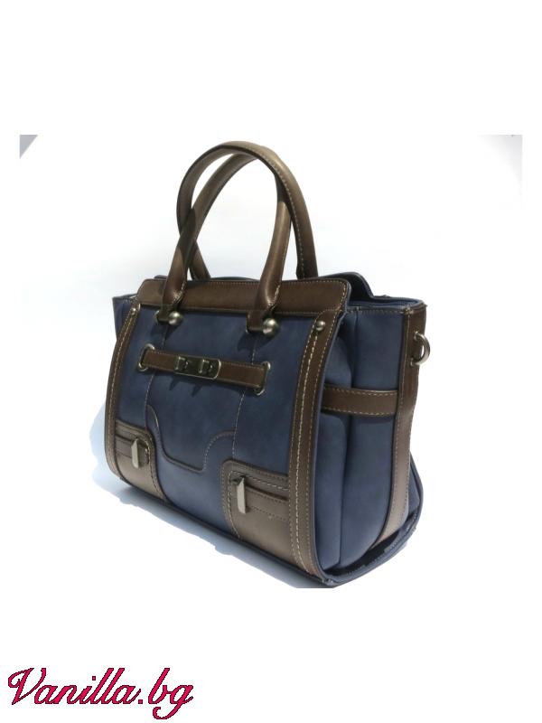 Чанти - Дамска чанта в ретро стил - тъмно синя