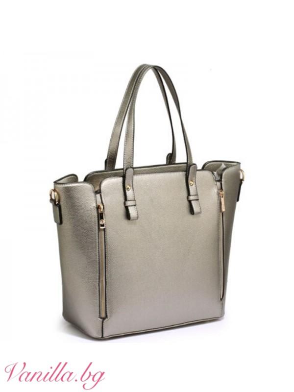 Дамска чанта в сребристо сиво