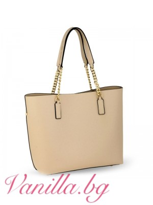 Голяма дамска чанта - бежова