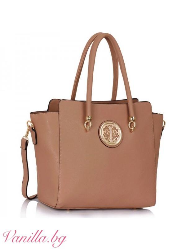 Елегантна дамска чанта - бежова