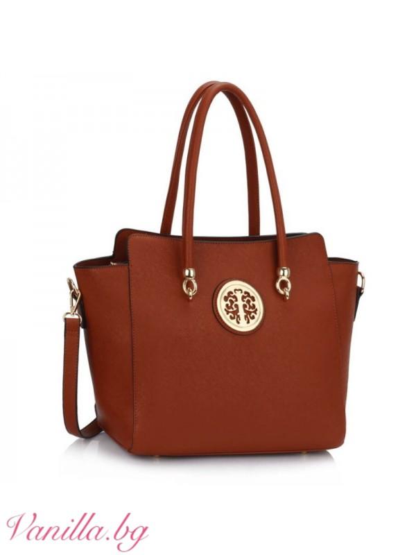Елегантна дамска чанта - кафява