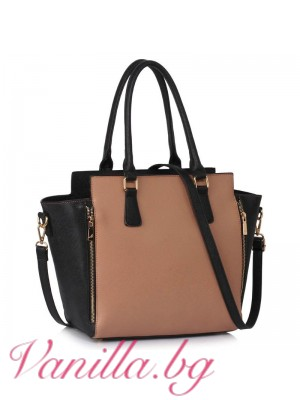 Елегантна чанта в бежово и черно