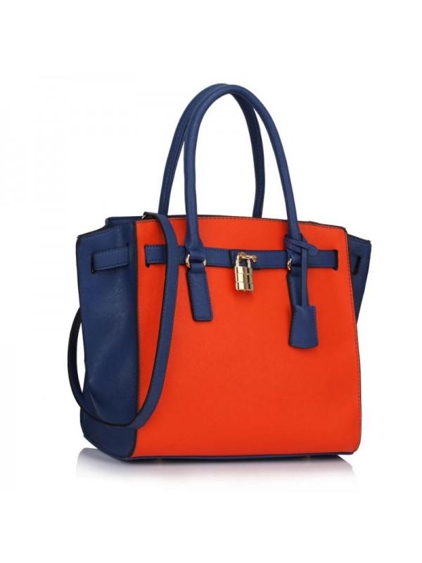 Дамска чанта в оранжево и синьо