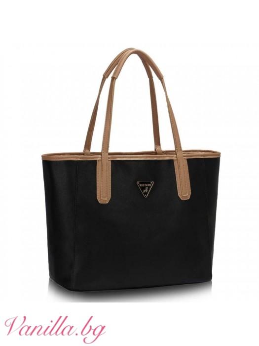 Двулицева чанта 2-в-1 - бежово и черно