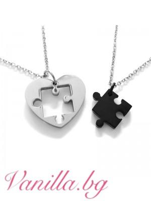 Комплект бижута за влюбени - пъзел и сърце