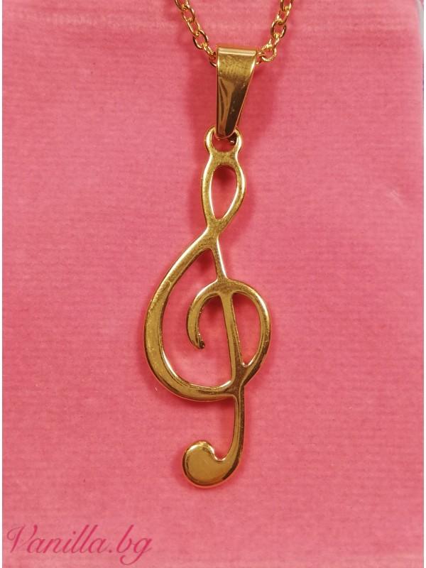 Колие Ключ Сол от медицинска стомана в златист цвят