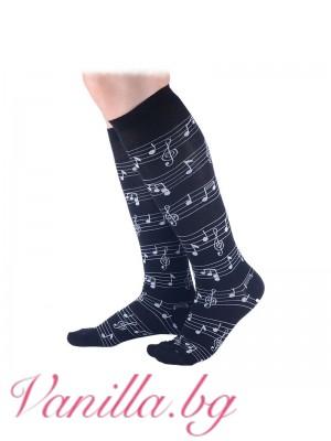 Чорапи до коляното с ноти - черни