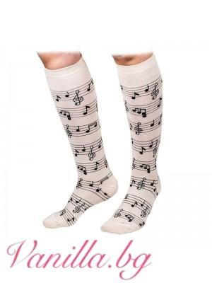 Чорапи до коляното с ноти - екрю