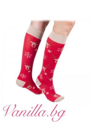 Коледни чорапи с еленчето Рудолф - дължина до коляното