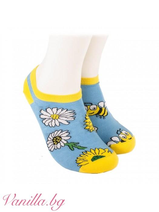 Чорапи с весели пчелички и маргаритки - модел тип терлик