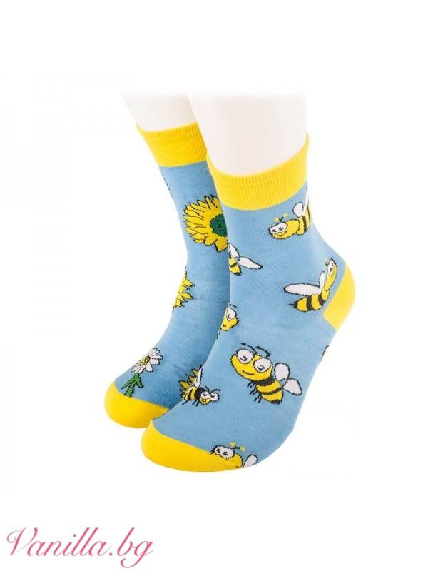 Чорапи с весели пчелички и маргаритки - сини