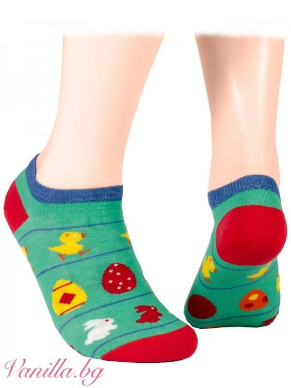 Великденски чорапи тип терлик - изпъстрени с пиленца, зайчета и боядисани яйца