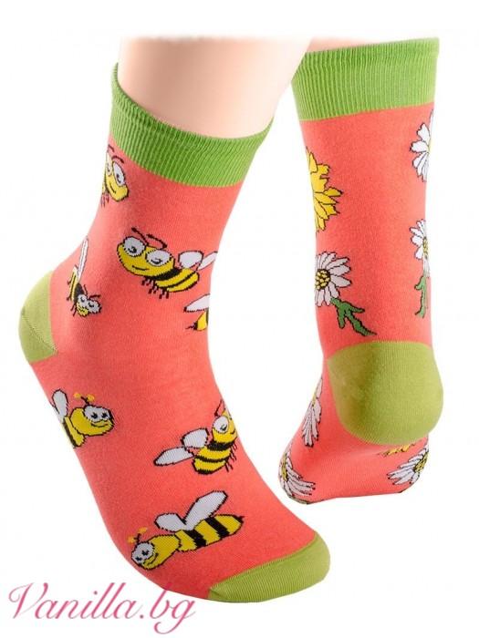 Чорапи с весели пчелички и маргаритки - оранжеви