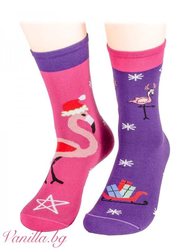 Чорапи с коледно фламинго