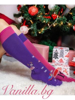 """Чорапи """"Коледно фламинго"""" с дължина до коляното"""