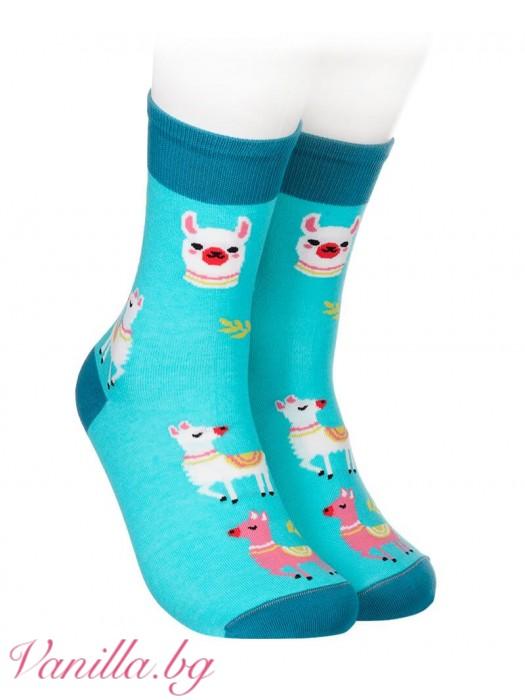 Сини чорапи с лама