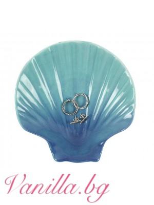 Декоративна синя порцеланова чинийка за бижута във формата на мида