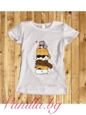 Дамска тениска с котенца - бяла