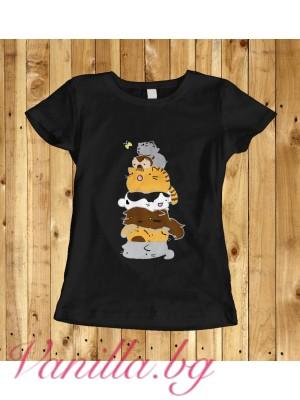 Дамска тениска с котенца - черна