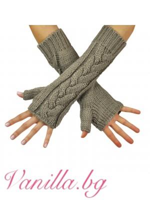 Ръкавици без пръсти - бежови