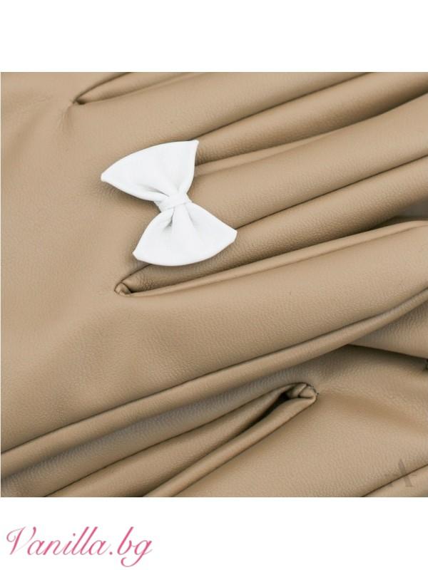 Ръкавици - Дамски ръкавици Панделка беж