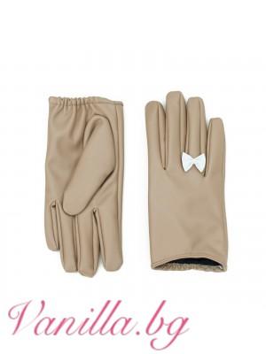 Дамски ръкавици Панделка - бежови